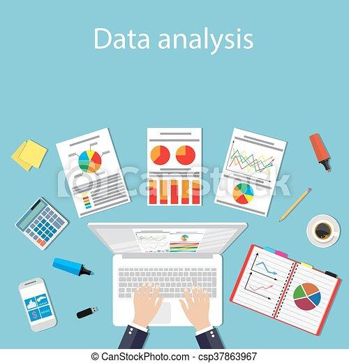 Businessman with laptop analyzes data. - csp37863967