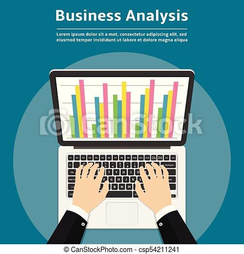 Businessman with laptop analyzes data. Analysis concept, flat design. - csp54211241