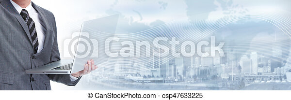Businessman with laptop - csp47633225