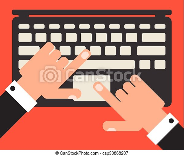Businessman with laptop, flat design vector - csp30868207