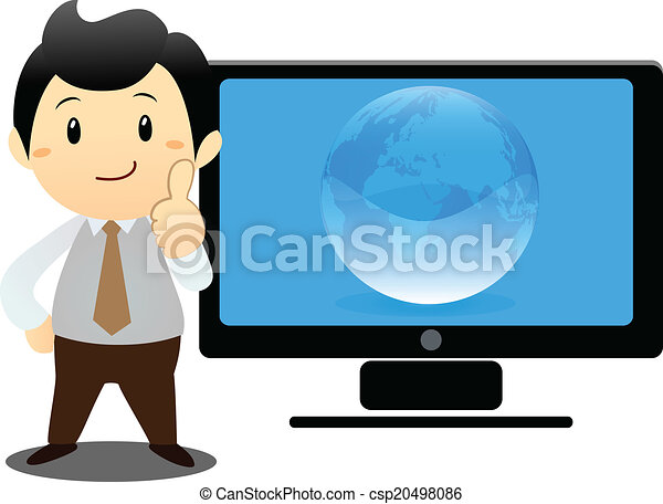 Businessman with laptop over white  - csp20498086