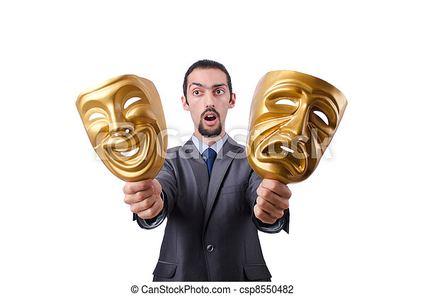Businessman with mask concealing his identity - csp8550482