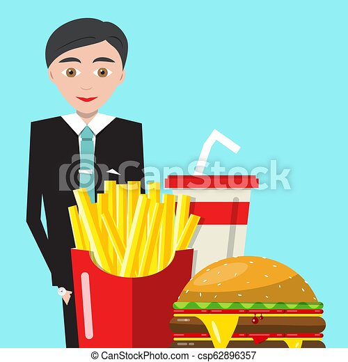 Businessman with Meal and Drink. Vector Business Man with Fast Food on Blue Background. - csp62896357