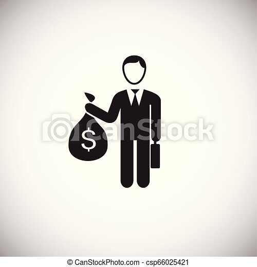 Businessman with money bag on white background - csp66025421