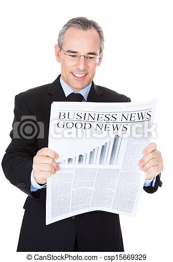 Businessman With Newspaper - csp15669329