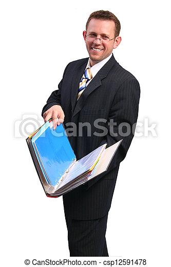 businessman with open folder - csp12591478