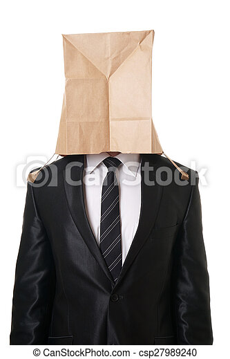 businessman with paper bag over his head - csp27989240