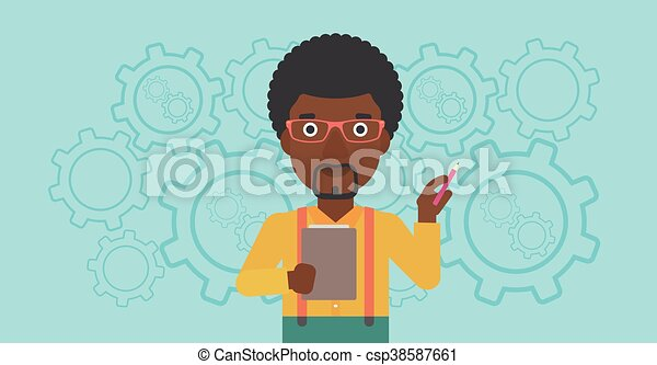 Businessman with pencil vector illustration. - csp38587661