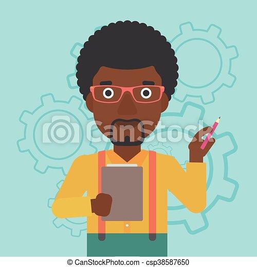 Businessman with pencil vector illustration. - csp38587650