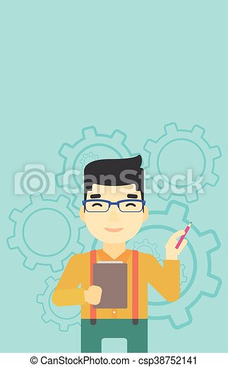 Businessman with pencil vector illustration. - csp38752141