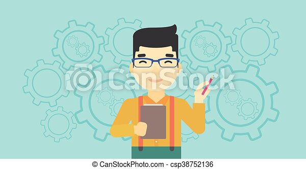 Businessman with pencil vector illustration. - csp38752136