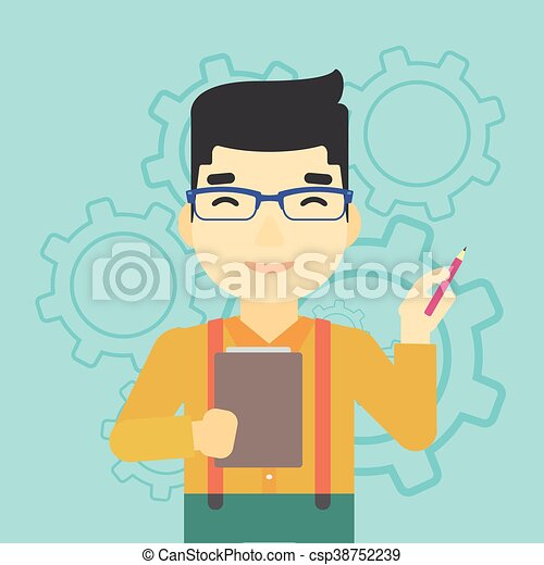 Businessman with pencil vector illustration. - csp38752239