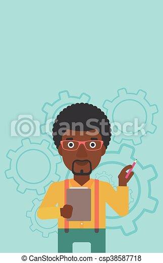 Businessman with pencil vector illustration. - csp38587718