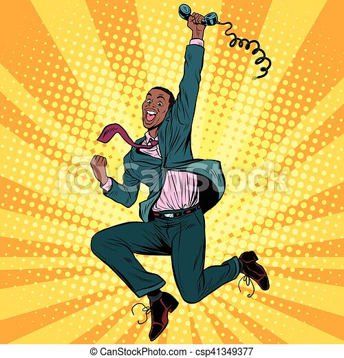 Businessman with phone jump happiness emotions - csp41349377