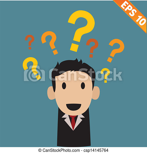 businessman with question marks - Vector illustration - EPS10 - csp14145764