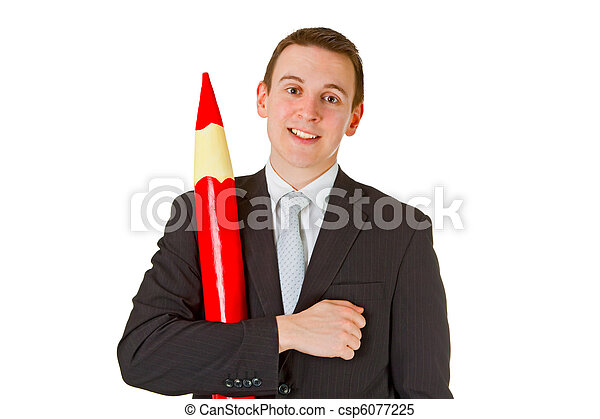 Businessman with red pencil - csp6077225