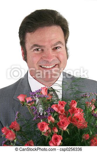 Businessman With Roses Closeup - csp0256336