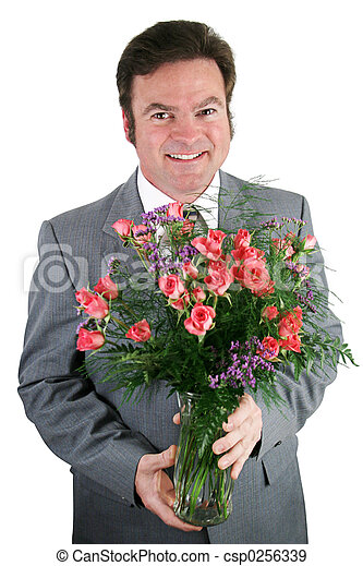 Businessman With Roses - csp0256339