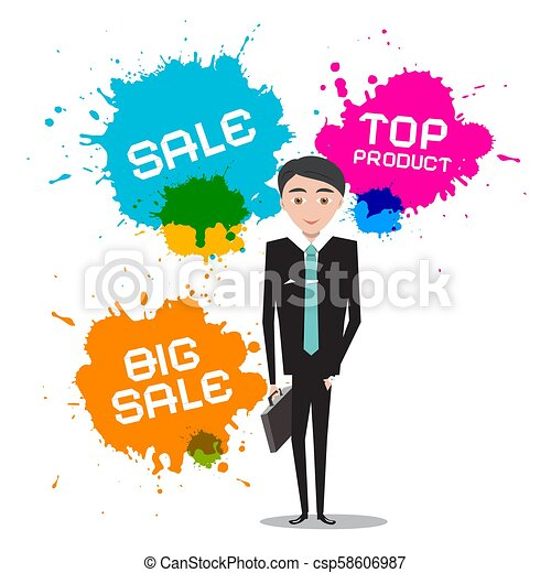 Businessman with Sale, Top Product Splashes - csp58606987