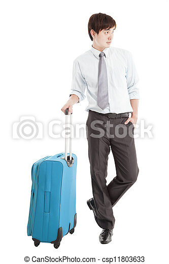 Businessman with suitcase and isolated on white - csp11803633