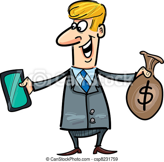 businessman with tablet ant sack of dollars - csp8231759