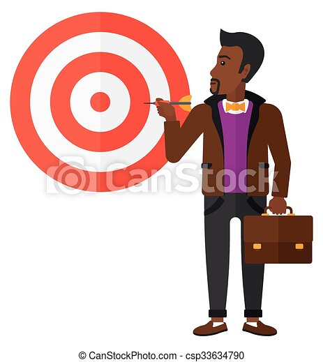 Businessman with target board. - csp33634790