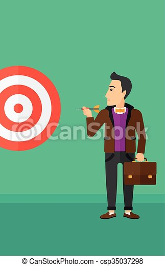 Businessman with target board. - csp35037298
