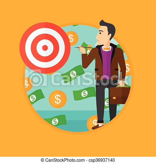 Businessman with target board. - csp36937140