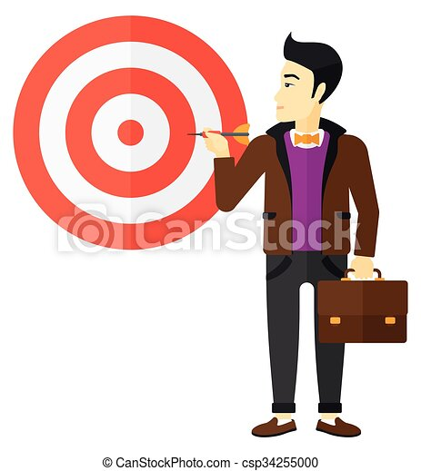 Businessman with target board. - csp34255000