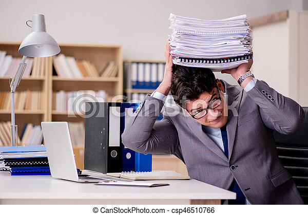Businessman with too much paperwork - csp46510766