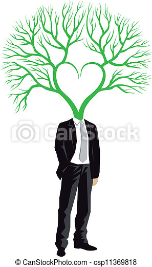Businessman with tree head, vector - csp11369818