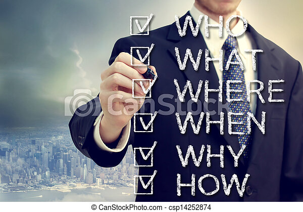Businessman with who what where when why and how - csp14252874
