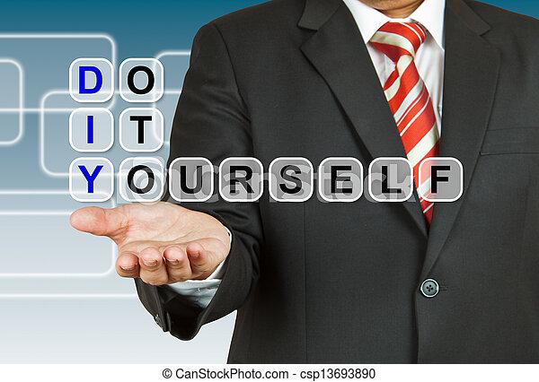 Businessman with wording do it yourself stock photographs search businessman with wording do it yourself csp13693890 solutioingenieria Gallery