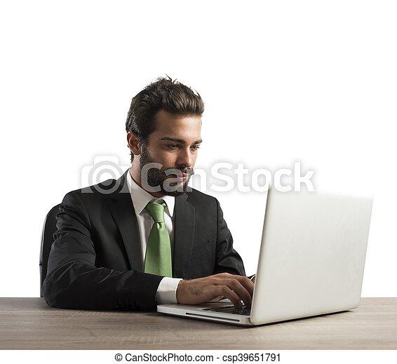 Businessman work with laptop - csp39651791