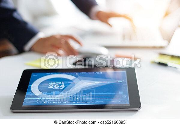 Businessman working finance stock exchange, stock market concept - csp52160895
