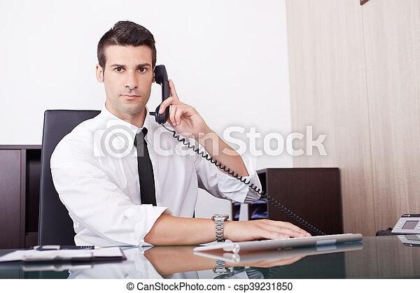 businessman working in office - csp39231850