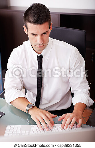 businessman working in office - csp39231855