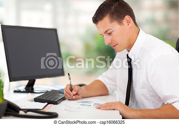 businessman working in office - csp16066325