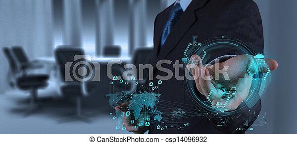 businessman working on modern technology - csp14096932