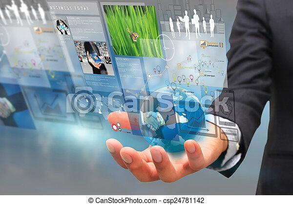 businessman working on virtual screen. business concept, technolog - csp24781142