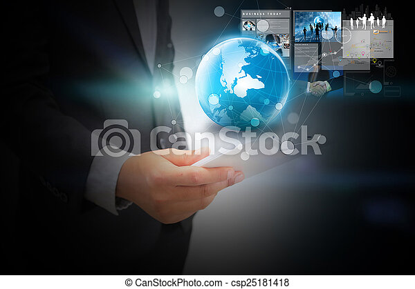 Businessman working with digital tablet. - csp25181418