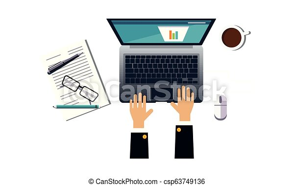 Businessman working with laptop analyzing graph, office workplace, view from above vector Illustration on a white background - csp63749136