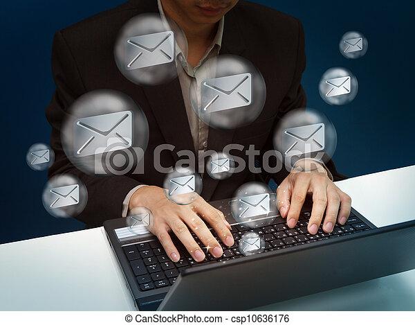 businessman working with laptop - csp10636176
