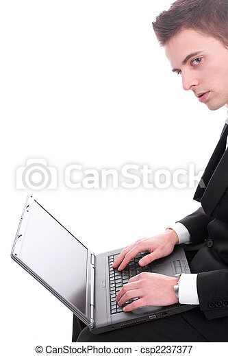 Businessman working with laptop - csp2237377