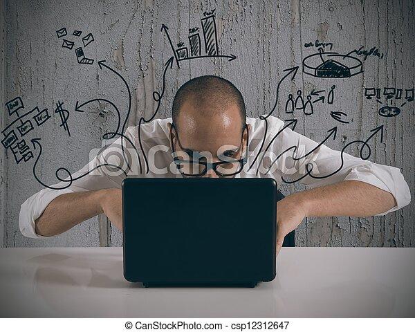 Businessman working with laptop - csp12312647