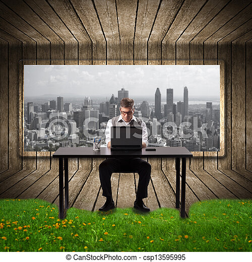 Businessman working with laptop. - csp13595995