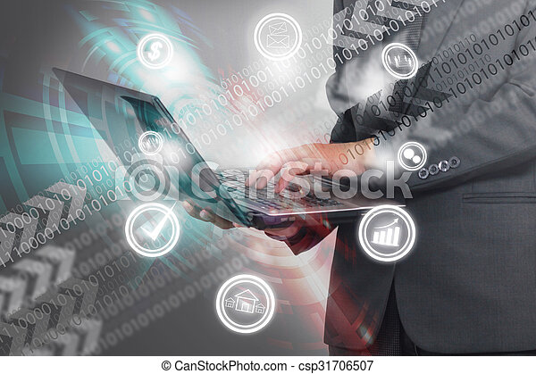 Businessman working with laptop. - csp31706507