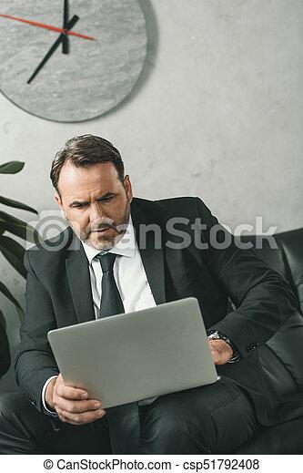 businessman working with laptop - csp51792408