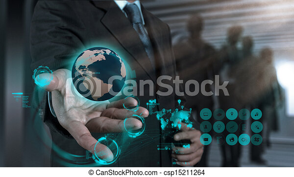 businessman working with new modern computer show social network structure - csp15211264
