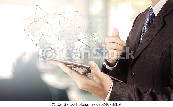 businessman working with new modern computer show social network - csp24673269